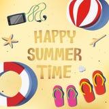 Пляж лета с красной и розовой сандалией Стоковая Фотография