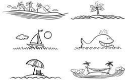 Пляж лета Стоковые Изображения