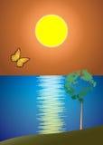 Пляж захода солнца иллюстрация штока