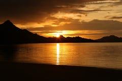 Пляж захода солнца Стоковое фото RF