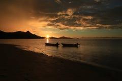 Пляж захода солнца Стоковая Фотография RF