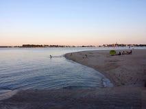 Пляж захода солнца, Lorient, Бретань Стоковая Фотография RF