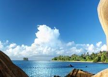 Пляж источника Anse d'Argent, остров Digue Ла Стоковое Изображение