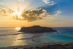 Пляж и лагуна Balos во время захода солнца, префектуры Chania, западного Крита, Греции Стоковая Фотография RF