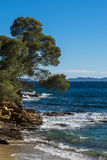 Пляж и бухта azur ` Коута d к Cavalaire стоковые изображения rf