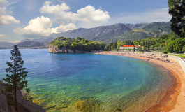 Пляж и гостиница Milocer Черногория Стоковое Фото