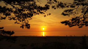 Пляж и заход солнца морского побережья Стоковое Изображение RF