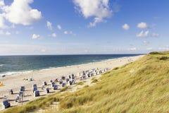 Пляж и песчанная дюна nBeach покрытое с травой Marram, Германией, Sylt, списком Стоковое Изображение
