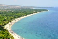 Пляж и Средиземное море Стоковые Изображения