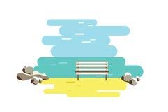 Пляж и стенд захода солнца Плоский вектор Стоковые Фото