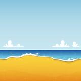 Пляж и seascape с текстурой моря и песка Предпосылка для плаката лета тропического Стоковая Фотография