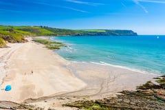 Пляж Корнуолл Англия Pendower Стоковая Фотография