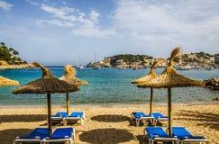 Пляж курорта, Порт de Soller, Мальорка Стоковое Изображение RF