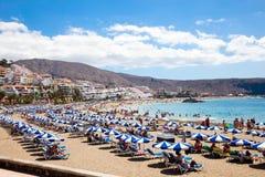 Пляж Лос Cristianos. Тенерифе, остров Canaries. Стоковые Фотографии RF