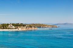 Пляж Марины Agia в Spetses, Греции Стоковая Фотография RF