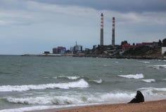 Пляж Махачкалы, республики Дагестана Стоковая Фотография RF