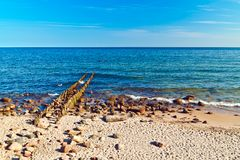 Пляж, море, волнорез… Стоковая Фотография RF