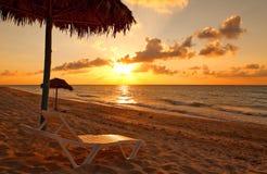 Пляж на заходе солнца, Варадеро Стоковая Фотография RF