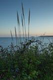 Пляж на заходе солнца в Корнуолле, Англии Стоковое Изображение RF
