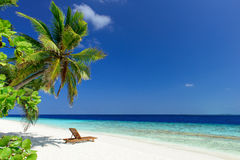 Пляж на Мальдивах Стоковое Изображение