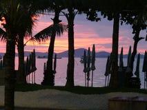 Пляж на ноче, Таиланд Паттайя Стоковые Фото