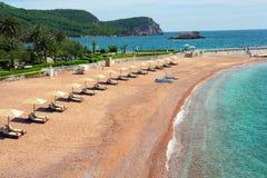 Пляж на Черногории Стоковая Фотография