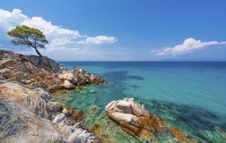 Пляж на Halkidiki, Sithonia, Греция стоковое фото rf