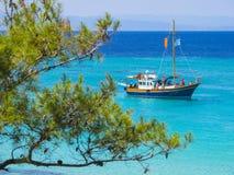 Пляж на Halkidiki, Sithonia, Греция Стоковая Фотография