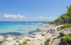 Пляж на Halkidiki, Sithonia, Греция стоковое изображение rf