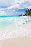 Пляж на Praslin Стоковые Фотографии RF