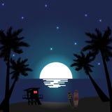 Пляж ночи лета Стоковое Изображение