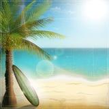 Пляж океана с доской прибоя бесплатная иллюстрация
