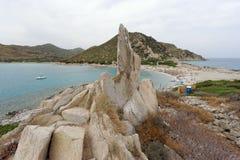 Пляж около виллы Simius Сардинии Италии Стоковое Изображение RF