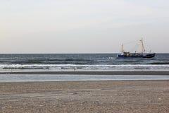 Пляж около Bureblinkert на пляже Ameland, Голландии Стоковые Изображения