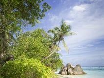 Пляж острова Digue Ла Стоковые Фото