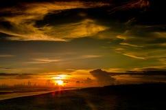 Пляж острова Sanibel на заходе солнца Стоковое Изображение RF