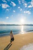 Пляж отмели Amanohashidate в утре зимы Стоковая Фотография