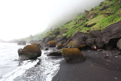 Пляж отработанной формовочной смеси - Dyrholaey, южная Исландия Стоковая Фотография RF