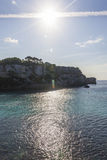 Пляж от вида с воздуха, Minorca Macarella, Менорка, балеарская Стоковые Фото