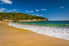 Пляж песка, на национальном парке Acadia, Мейн стоковые изображения rf