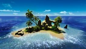 Пляж песка на тропическом острове с пальмой Стоковые Изображения RF