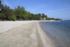 Пляж песка Хорвата адриатический в Crikvenica Стоковые Изображения RF