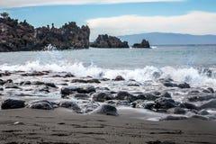 Пляж песка черноты арены Ла Playa вулканический Стоковое фото RF