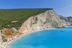 Пляж Порту Katsiki, лефкас, Ionian острова Стоковое фото RF