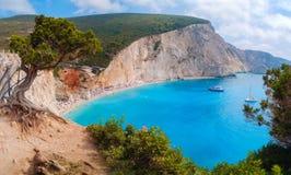 Пляж Порту Katsiki, остров лефкас, Греция Стоковое Изображение RF