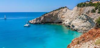 Пляж Порту Katsiki, Lefkas, Греция Стоковая Фотография