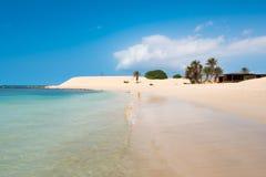 Пляж Прая de Chaves Chaves в Boavista Кабо-Верде - Cabo Verd Стоковое Изображение RF