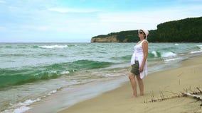 Пляж пункта песка сток-видео
