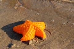 Пляж развевает морские звёзды и покрашенные игрушки Стоковые Изображения RF