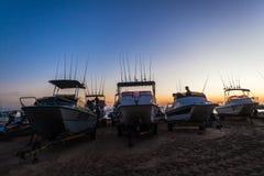 Пляж рассвета штаног Лыж-шлюпок рыболовства стоковое фото